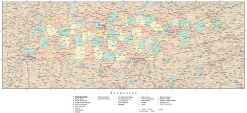 Poster Size Tennessee Map with Counties, Cities, Highways, Railroads, Airports, National Parks and more