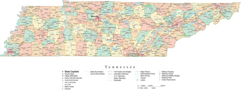 Detailed Tennessee Cut-Out Style Digital Map with Counties, Cities, Highways, and more