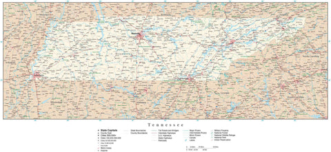 Poster Size Tennessee Map with County Boundaries, Cities, Highways, National Parks, and more