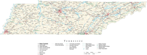Poster Size Tennessee Cut-Out Style Map with County Boundaries, Cities, Highways, National Parks, and more