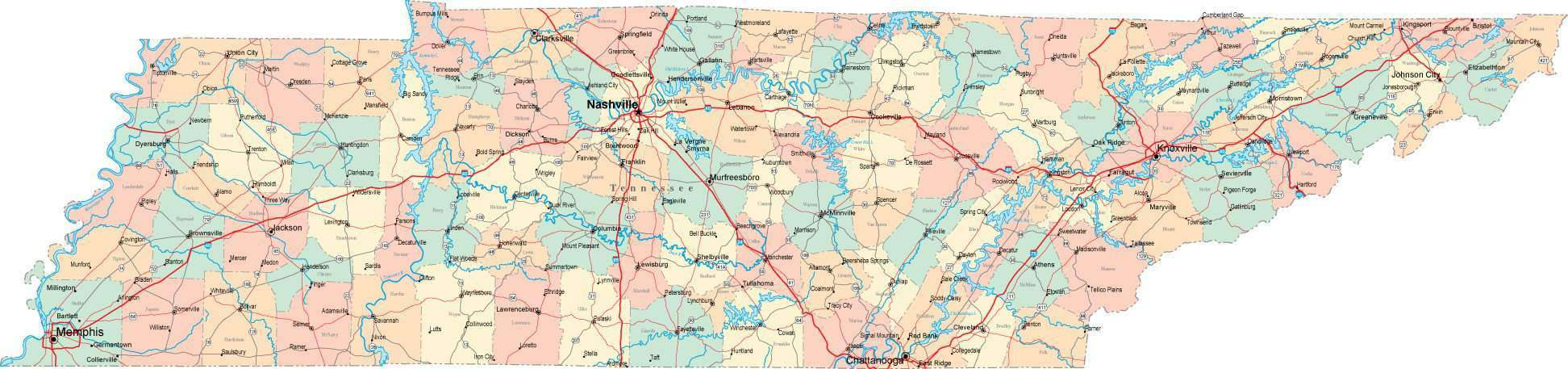 Tennessee State Map Geology And Earth Science Tennessee Political - Tennessee usa map