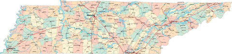 Tennessee State Map - Multi-Color Style - Fit Together Series