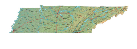 Digital Tennessee map in Fit Together style with Terrain TN-USA-852101