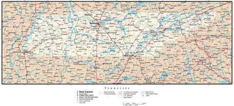 Tennessee Map with Capital, County Boundaries, Cities, Roads, and Water Features