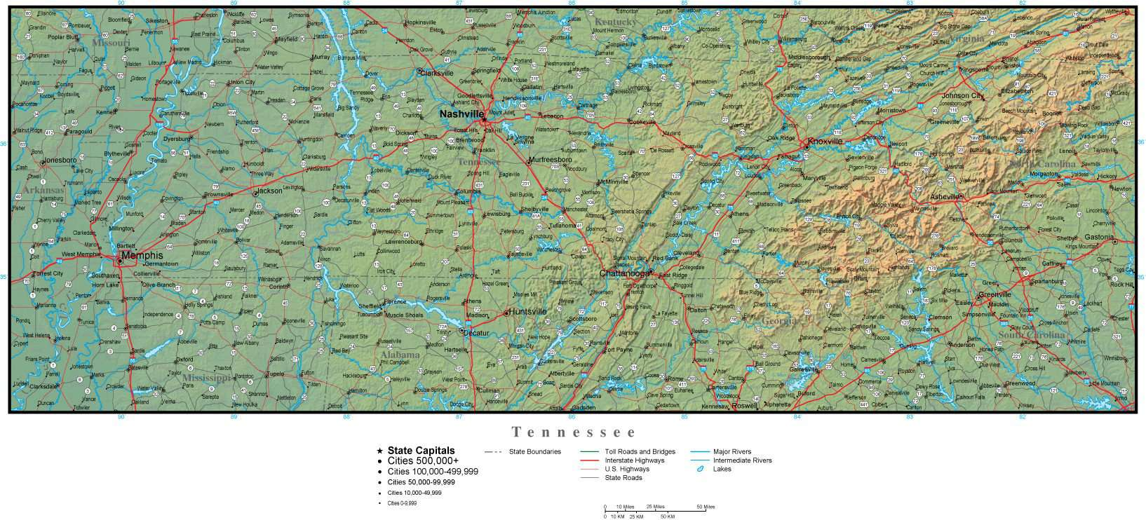 Tennessee Map Plus Terrain with Cities Roads and Water Features