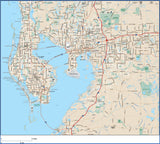 Tampa FL Map - Metro Area - with Major and Local Roads