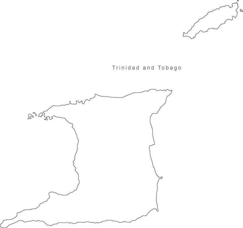 Digital Black & White Trinidad & Tobago map in Adobe Illustrator EPS vector format