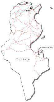 Tunisia Black & White Map with Capital, Major Cities, Roads, and Water Features
