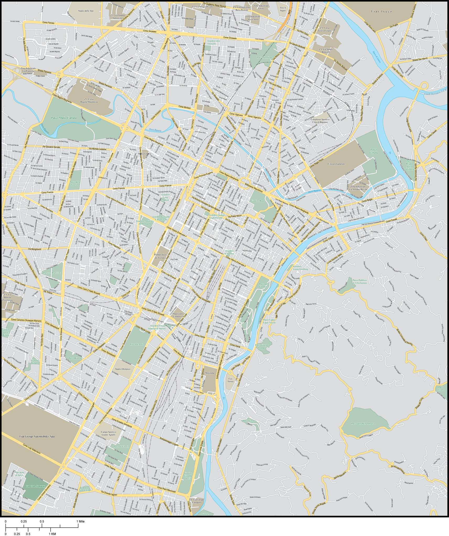 Turin Map Adobe Illustrator Vector Format Map Resources