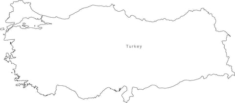 Digital Black & White Turkey map in Adobe Illustrator EPS vector format