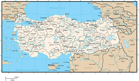 Turkey Map with Provinces