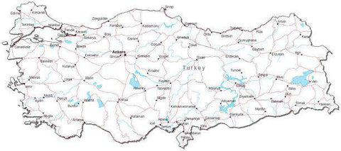 Turkey Black & White Map with Capital, Major Cities, Roads, and Water Features