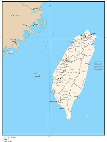 Taiwan Digital Vector Map with Administrative Areas and Capitals