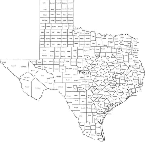 Black & White Texas Map with Counties