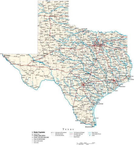 Texas State Map In FitTogether Style To Match Other States Map - Map of texas usa