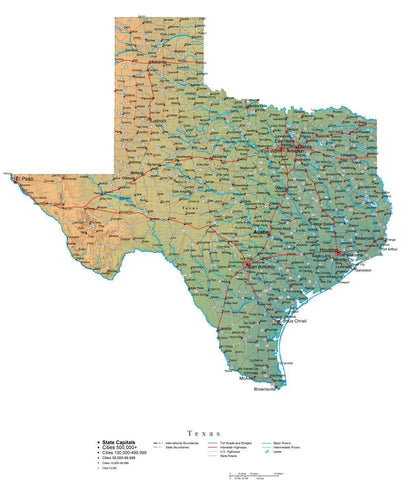 Digital Texas State Illustrator cut-out style vector with Terrain TX-USA-242003