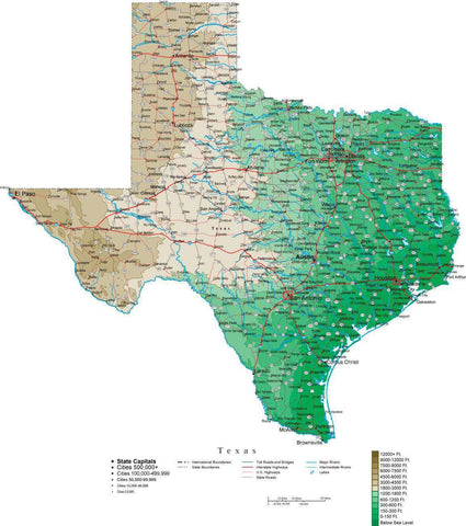 Texas Map  with Contour Background - Cut Out Style