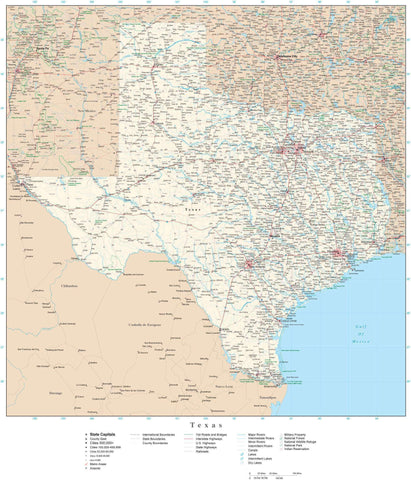 Poster Size Texas Map with County Boundaries, Cities, Highways, National Parks, and more