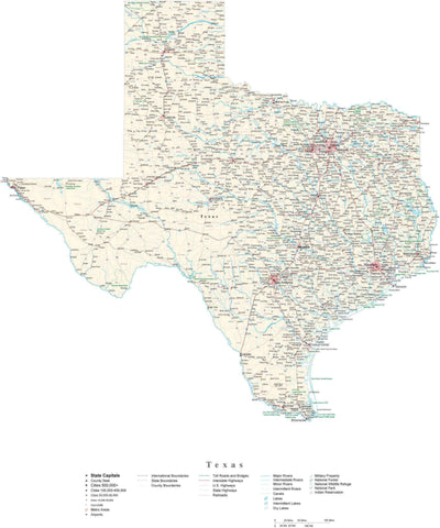 Poster Size Texas Cut-Out Style Map with County Boundaries, Cities, Highways, National Parks, and more