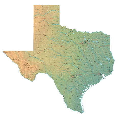 Texas Map - Cut Out Style - Fit Together Series Plus Terrain