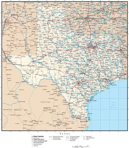 Texas Map with Capital, County Boundaries, Cities, Roads, and Water Features