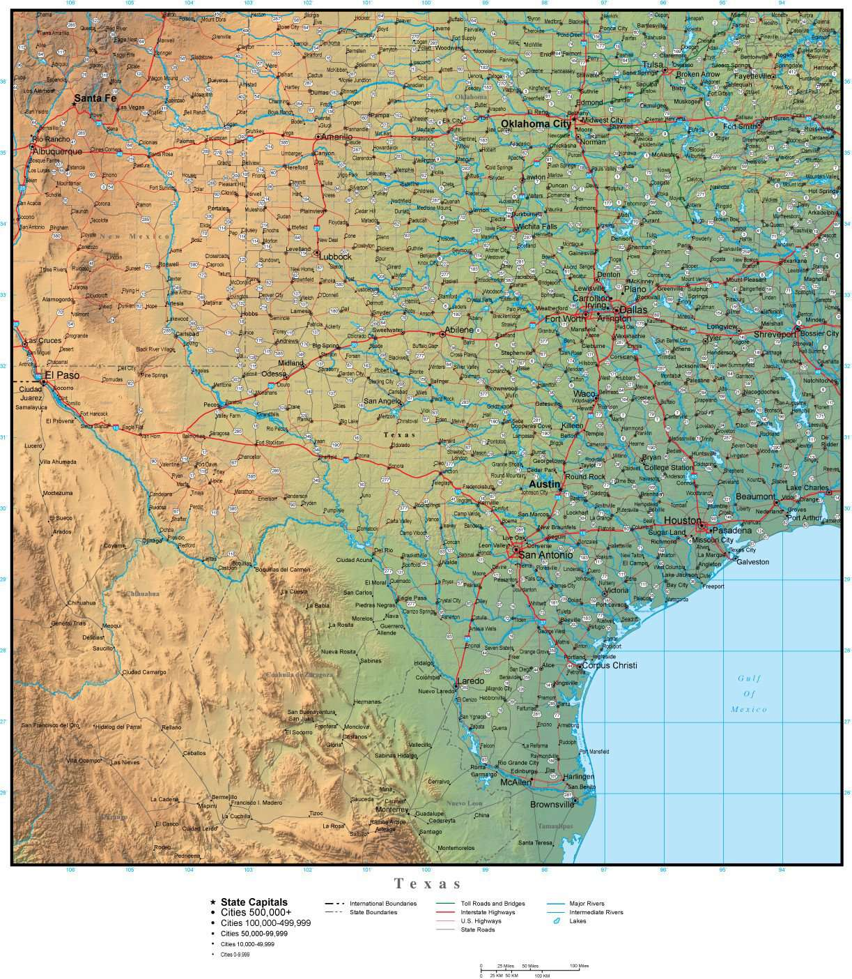 Map Of Texas 99.Texas Map Plus Terrain With Cities Roads And Water Features