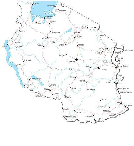 Tanzania Black & White Map with Capital, Major Cities, Roads, and Water Features
