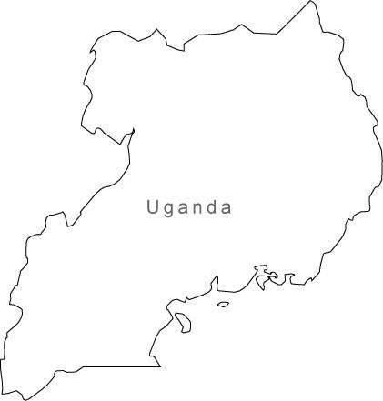 Digital Black & White Uganda map in Adobe Illustrator EPS vector format
