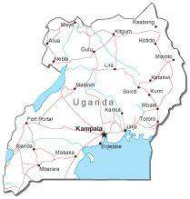 Uganda Black & White Map with Capital, Major Cities, Roads, and Water  Features