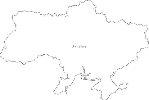 Digital Black & White Ukraine map in Adobe Illustrator EPS vector format