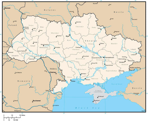 Ukraine Digital Vector Map with Province Areas and Capitals
