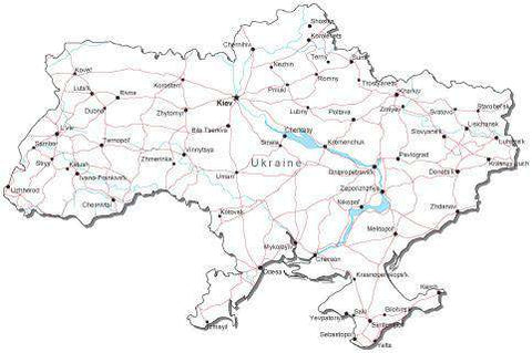 Ukraine Black & White Map with Capital, Major Cities, Roads, and Water Features