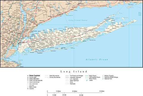 Long Island  NY Map with State Boundaries