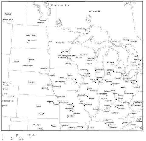 USA Midwest Region Black & White Map with State Boundaries  Capital and Major Cities