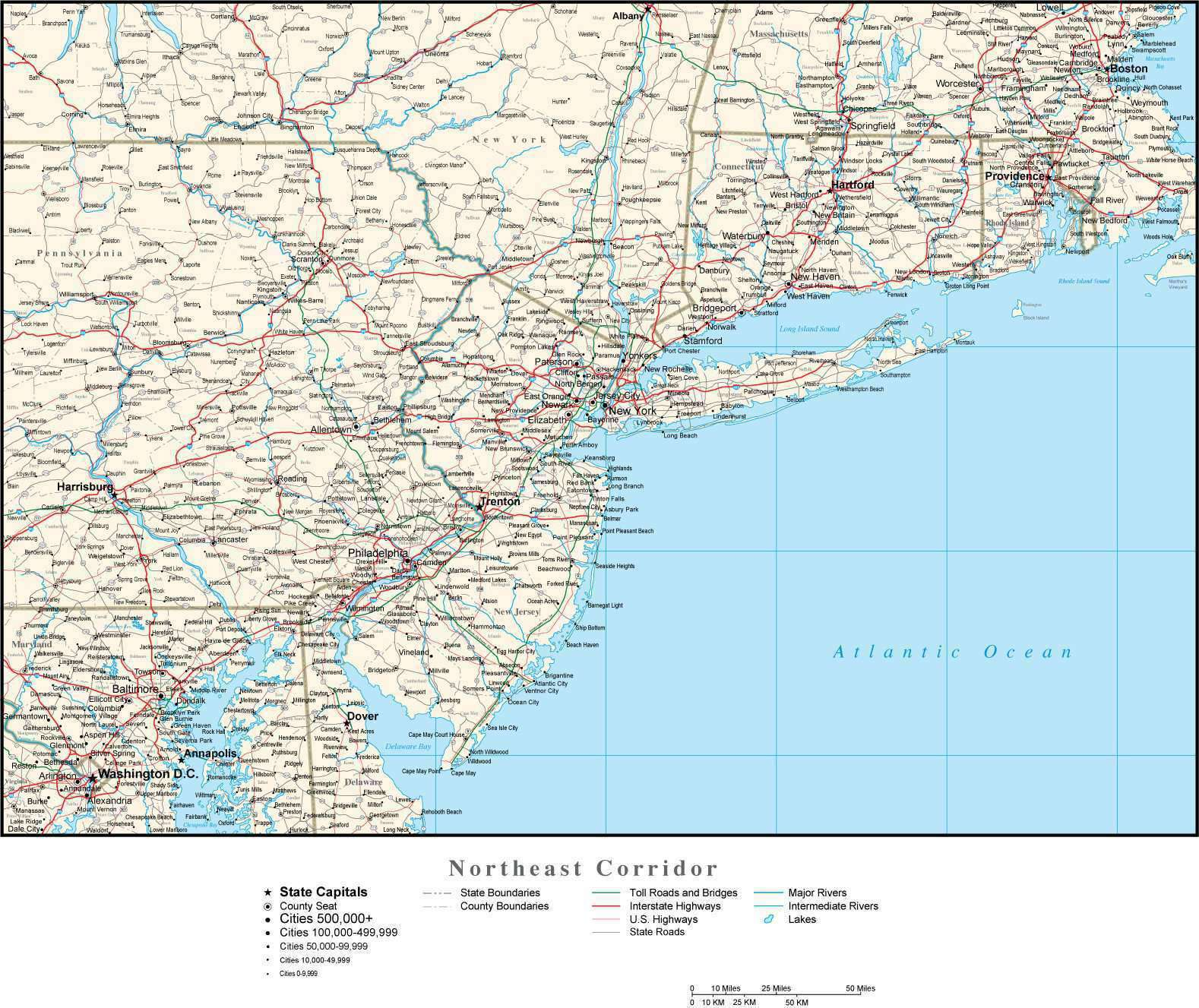 Northeast Corridor Map with State Boundaries, Cities and Highways
