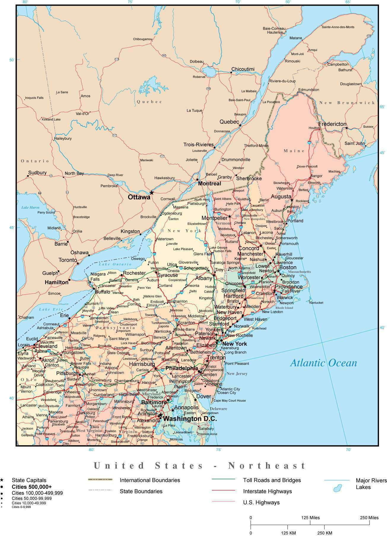 Picture of: Usa Northeast Region Map With State Boundaries Highways And Cities