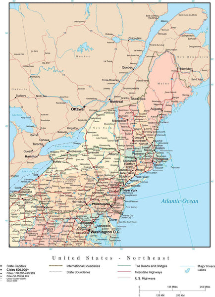 USA Northeast Region Map with State Boundaries, Highways, and Cities