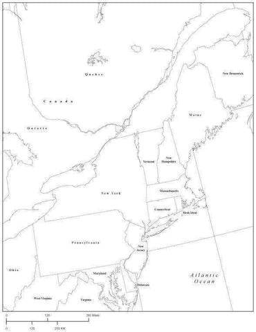 USA Northeast Region Black White Map With State Boundaries Map - Northeast region us map