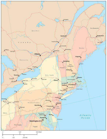 USA Northeast Region Map with State Boundaries, Roads, Capital and Major Cities