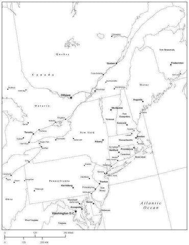 USA Northeast Region Black White Map with State Boundaries Capital