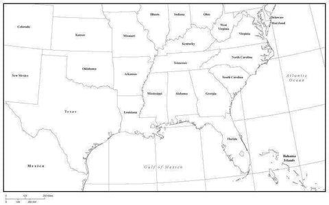 USA South Region Black & White Map with State Boundaries