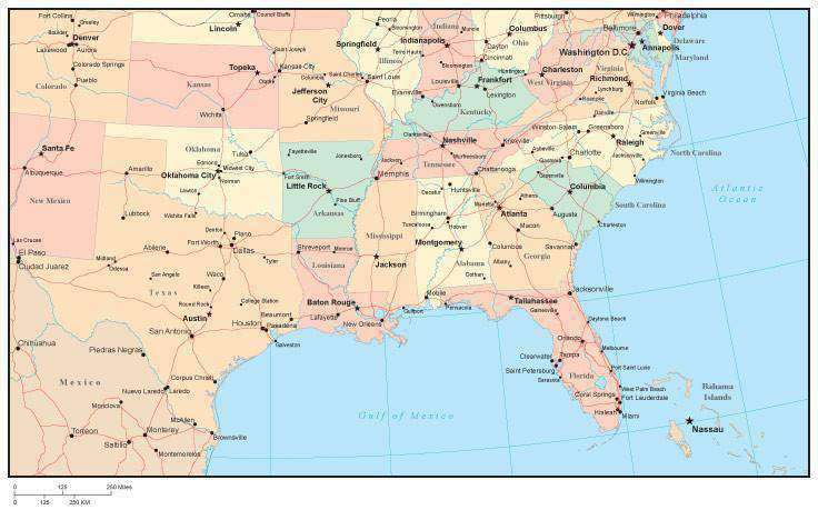 Southeast Coast Usa Maps With States And Cities Wiring Free - Southern us map with cities