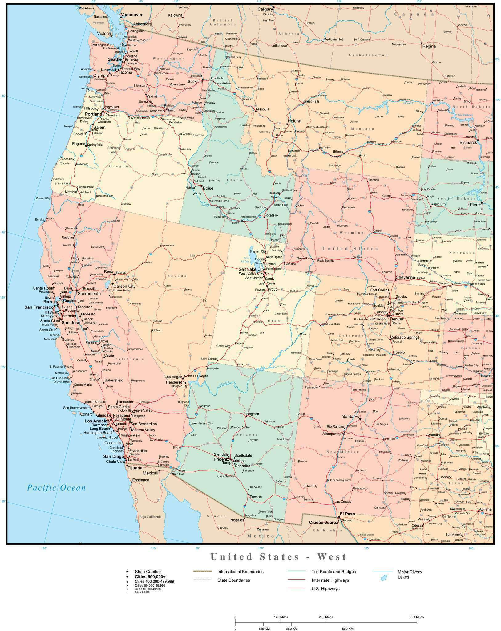 Picture of: Usa West Region Map With State Boundaries Highways And Cities