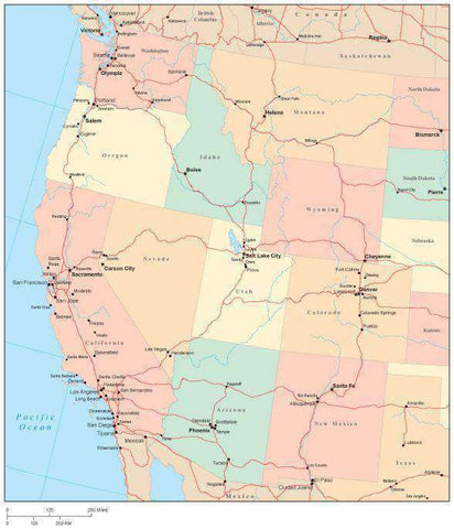 USA West Region Map with State Boundaries Roads Capital and Major Cities