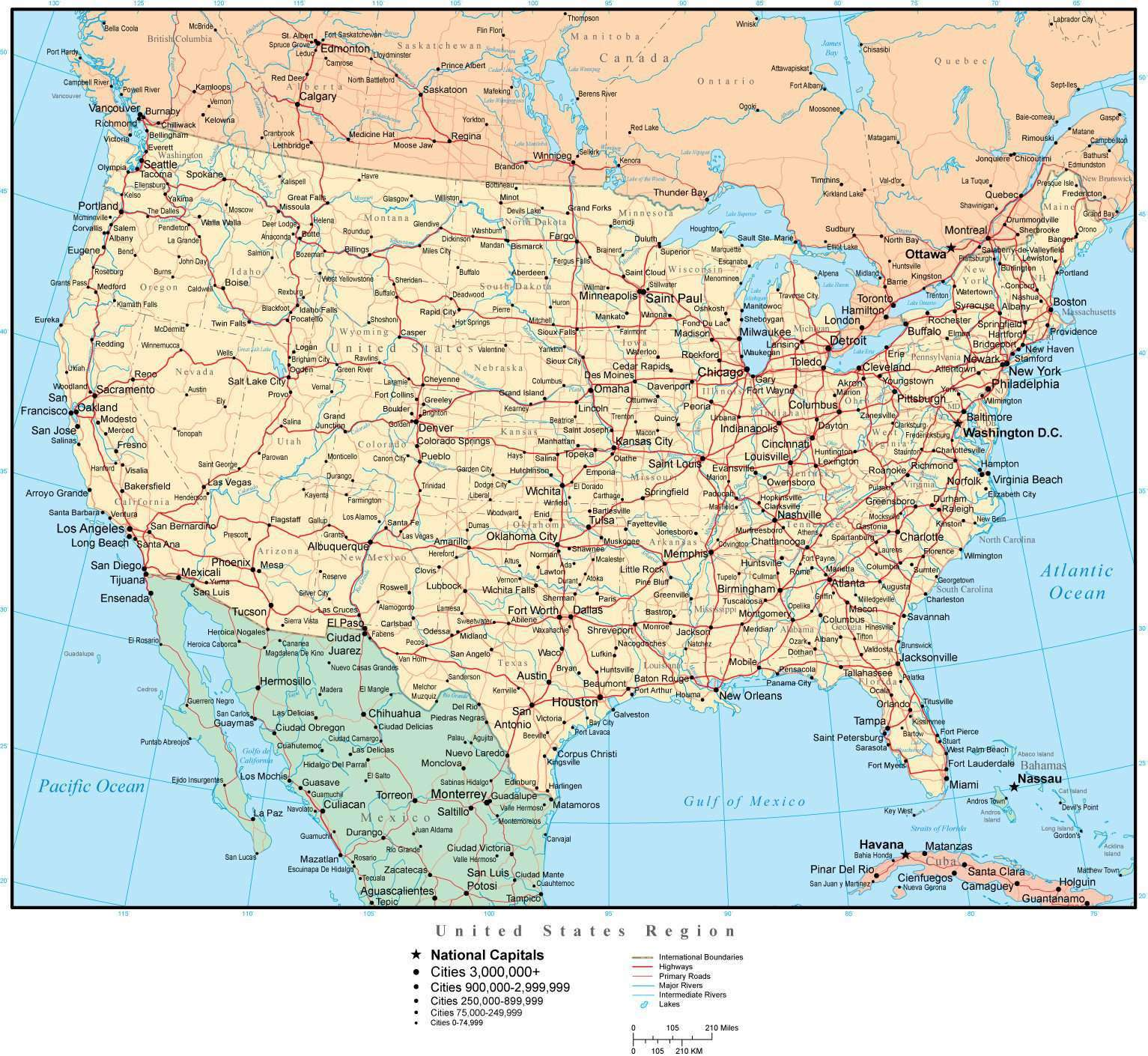 United States Map with US States, Capitals, Major Cities, & Roads