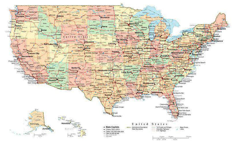 USA Map Rectangular Projection with Capitals Cities Roads and Water Features