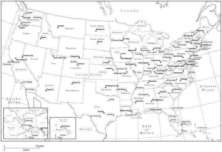 Black & White USA Map with Capitals and Major Cities