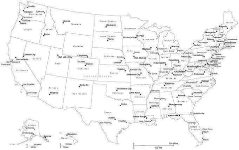 Black & White USA Map with Capitals and Major Cities, Cut-Out Style
