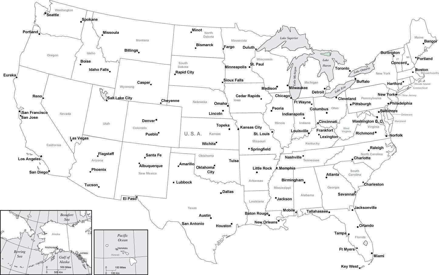 Picture of: Black White Usa Map With Major Cities