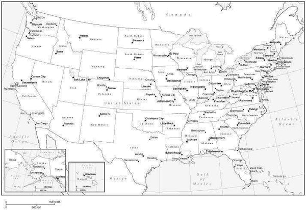 Black White USA Map In Adobe Illustrator Vector Format Map - Black and white usa map